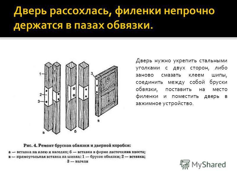 Дверь нужно укрепить стальными уголками с двух сторон, либо заново смазать клеем шипы, соединить между собой бруски обвязки, поставить на место филенки и поместить дверь в зажимное устройство.