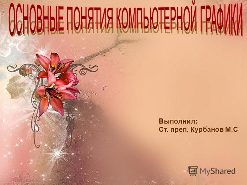 Выполнил: Ст. преп. Курбанов М.С