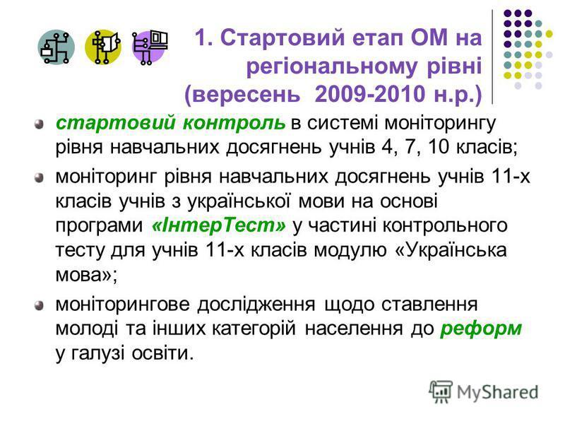 1. Стартовий етап ОМ на регіональному рівні (вересень 2009-2010 н.р.) стартовий контроль в системі моніторингу рівня навчальних досягнень учнів 4, 7, 10 класів; моніторинг рівня навчальних досягнень учнів 11-х класів учнів з української мови на основ