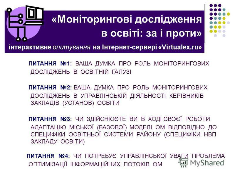 «Моніторингові дослідження в освіті: за і проти» інтерактивне опитування на Інтернет-сервері «Virtualex.ru» ПИТАННЯ 1: ВАША ДУМКА ПРО РОЛЬ МОНІТОРИНГОВИХ ДОСЛІДЖЕНЬ В ОСВІТНІЙ ГАЛУЗІ ПИТАННЯ 2: ВАША ДУМКА ПРО РОЛЬ МОНІТОРИНГОВИХ ДОСЛІДЖЕНЬ В УПРАВЛІН