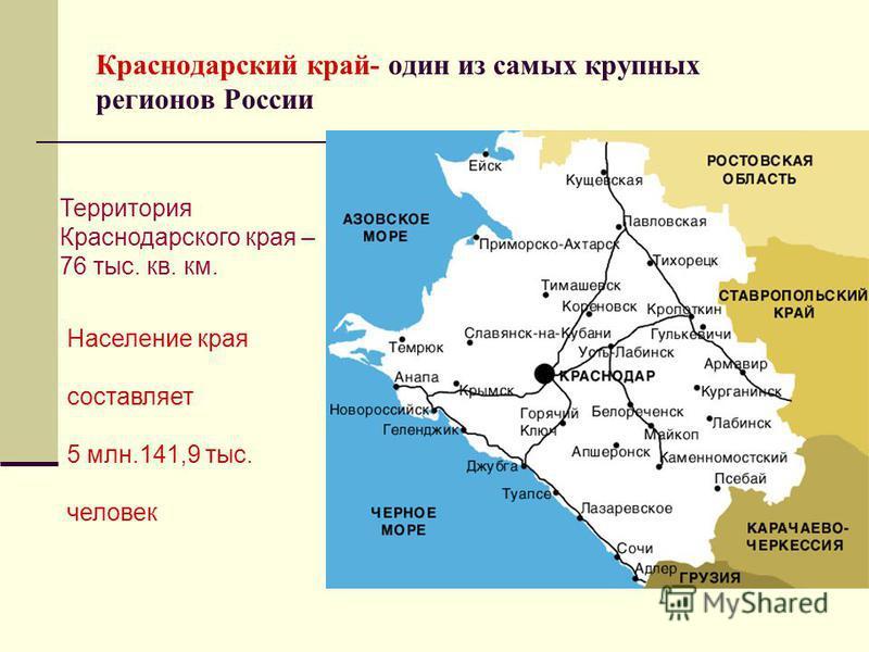 Краснодарский край- один из самых крупных регионов России Территория Краснодарского края – 76 тыс. кв. км. Население края составляет 5 млн.141,9 тыс. человек