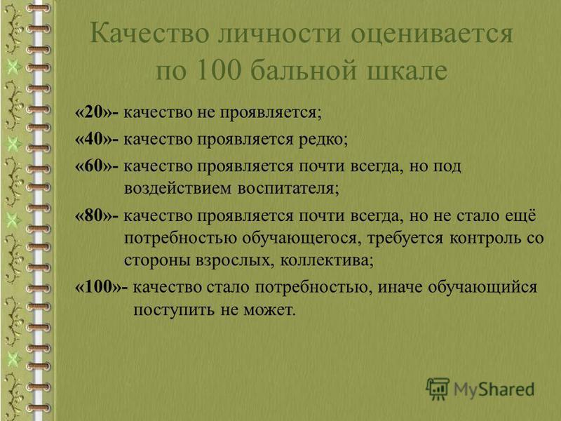 Качество личности оценивается по 100 бальной шкале «20»- качество не проявляется; «40»- качество проявляется редко; «60»- качество проявляется почти всегда, но под воздействием воспитателя; «80»- качество проявляется почти всегда, но не стало ещё пот