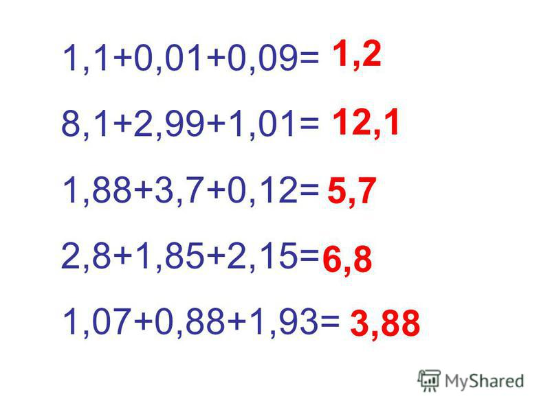 1,1+0,01+0,09= 8,1+2,99+1,01= 1,88+3,7+0,12= 2,8+1,85+2,15= 1,07+0,88+1,93= 1,2 12,1 5,7 6,8 3,88