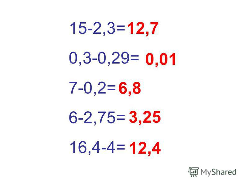 15-2,3= 0,3-0,29= 7-0,2= 6-2,75= 16,4-4= 12,7 0,01 6,8 3,25 12,4