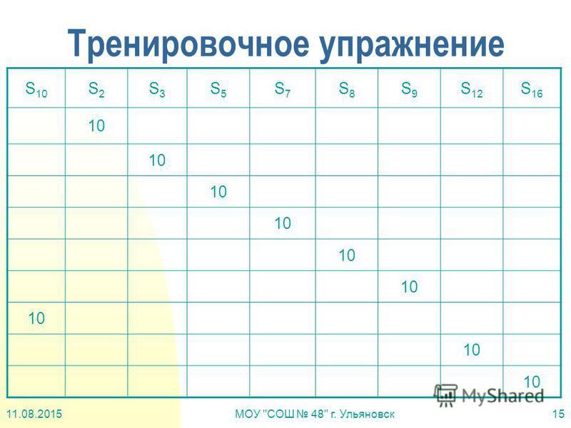 11.08.2015МОУ СОШ 48 г. Ульяновск 15 Тренировочное упражнение S 10 S2S2 S3S3 S5S5 S7S7 S8S8 S9S9 S 12 S 16 10