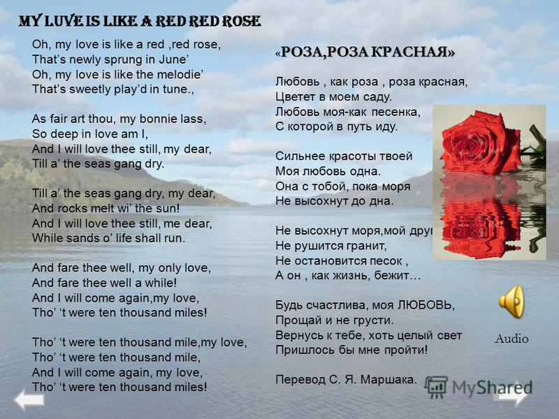 Oh, my love is like a red,red rose, Thats newly sprung in June Oh, my love is like the melodie Thats sweetly playd in tune., As fair art thou, my bonnie lass, So deep in love am I, And I will love thee still, my dear, Till a the seas gang dry. Till a