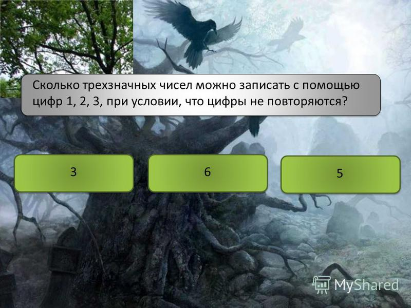Сколько трехзначных чисел можно записать с помощью цифр 1, 2, 3, при условии, что цифры не повторяются? 3 5 6