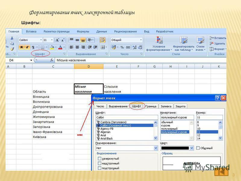 Шрифты: Форматирование ячеек электронной таблицы 3