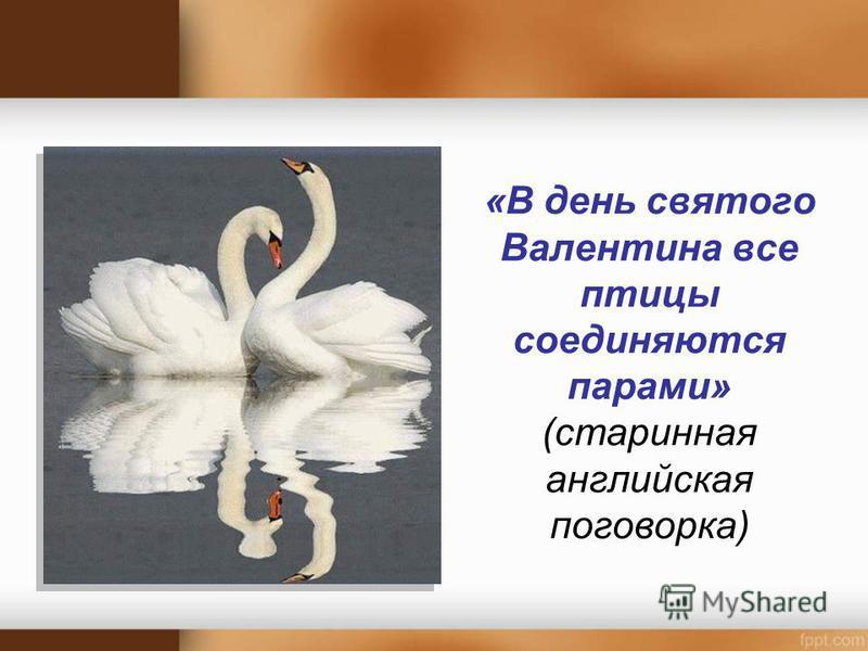 «В день святого Валентина все птицы соединяются парами» (старинная английская поговорка)