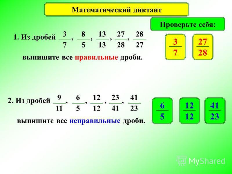 Математический диктант Проверьте себя: 1. Из дробей,,,, выпишите все правильные дроби. 3 7 8 5 13 27 28 27 3 7 28 2. Из дробей,,,, выпишите все неправильные дроби. 9 11 6 5 12 23 41 23 6 5 12 41 23