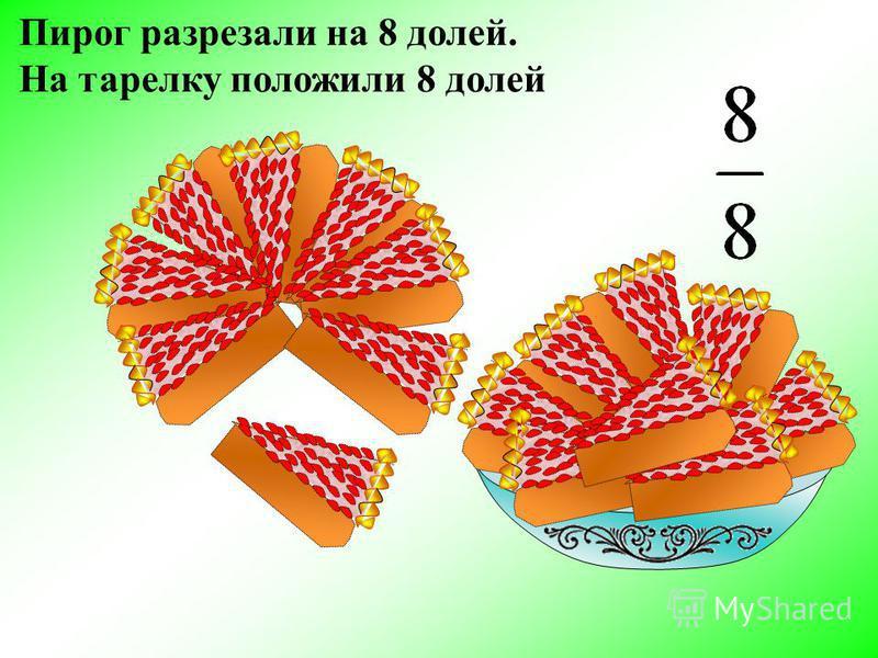 Пирог разрезали на 8 долей. На тарелку положили 8 долей