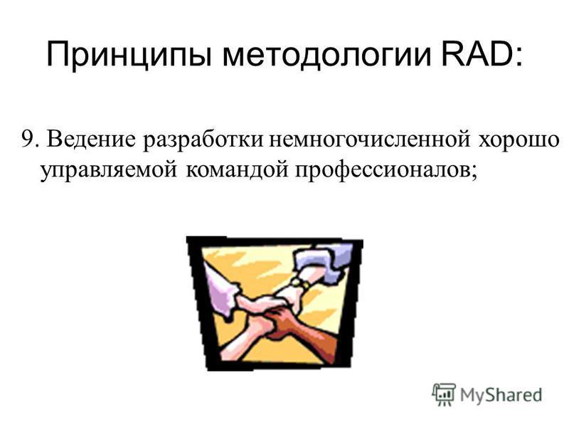 Принципы методологии RAD: 9. Ведение разработки немногочисленной хорошо управляемой командой профессионалов;