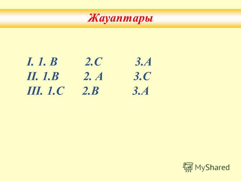 Жауаптарымен сәйкестендір IІІ 1.СүйірА) 2. ДоғалВ) 3. Тік бұрышС) 1. 90 -қа теңА) толық 2. 360 -қа теңВ) Тік бұрыш 3. 180 -қа теңС) жазыңқы 1.1.А) 130 2.2.В) 110 3.3.С) 125 I IІIІ