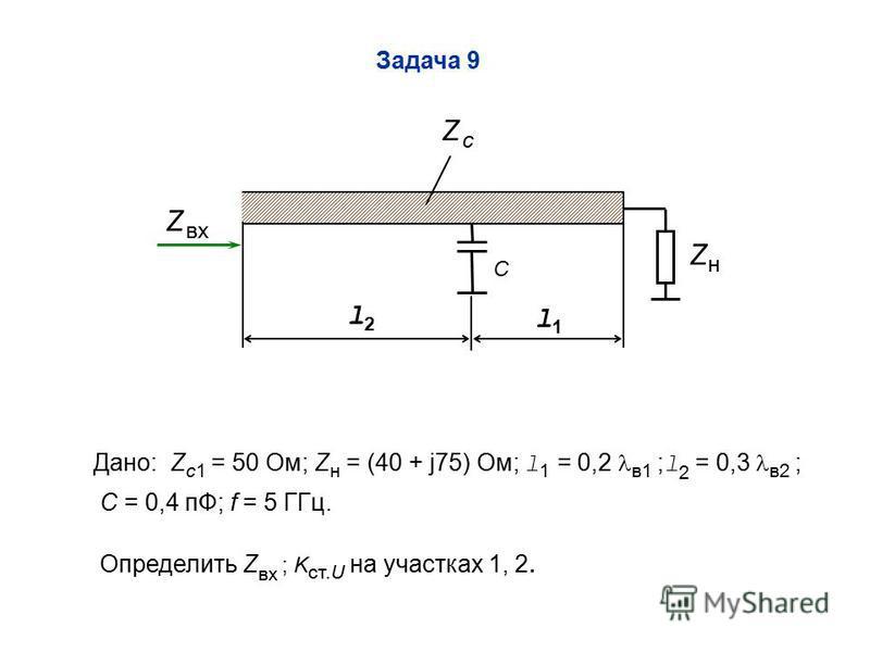 Задача 9 ZнZн Z cZ c l1l1 l2l2 Z пвх C Дано: Z c1 = 50 Ом; Z н = (40 + j75) Ом; l 1 = 0,2 в 1 ; l 2 = 0,3 в 2 ; C = 0,4 пФ; f = 5 ГГц. Определить Z пвх ; K ст.U на участках 1, 2.