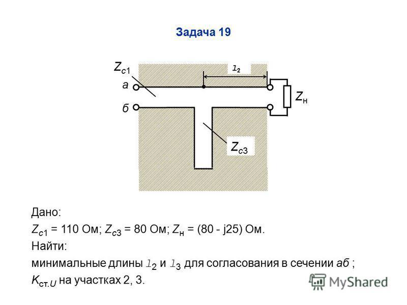 Задача 19 Zc1Zc1 Zc3Zc3 Дано: Z c1 = 110 Ом; Z c3 = 80 Ом; Z н = (80 - j25) Ом. Найти: минимальные длины l 2 и l 3 для согласования в сечении аб ; K ст.U на участках 2, 3. а б l2l2 ZнZн