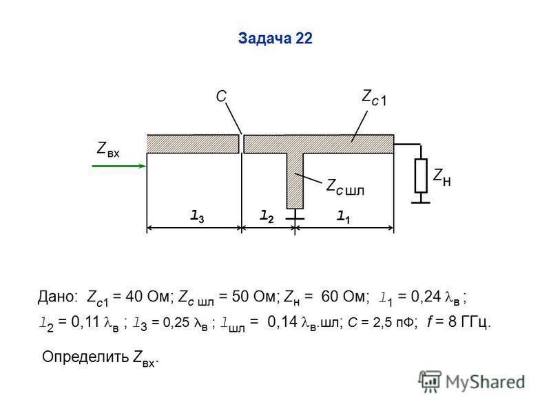 Zc 1Zc 1 ZнZн С Z c шл l1l1 l2l2 Задача 22 l3l3 Дано: Z c1 = 40 Ом; Z c шл = 50 Ом; Z н = 60 Ом; l 1 = 0,24 в ; l 2 = 0,11 в ; l 3 = 0,25 в ; l шл = 0,14 в.шл ; C = 2,5 пФ ; f = 8 ГГц. Определить Z пвх. Z пвх