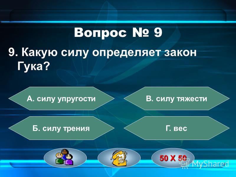 Вопрос 8 8. Прибор для измерения атмосферного давления А. динамометр Б. барометр В. манометр Г. термометр 50 Х 50