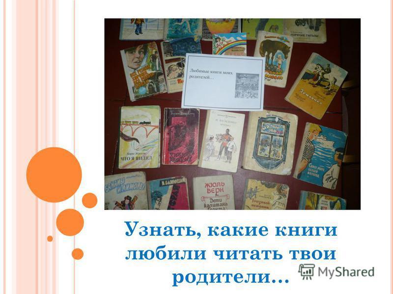 Узнать, какие книги любили читать твои родители…