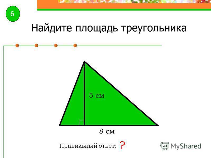 Найдите площадь треугольника Правильный ответ: ? 2 дм 1,3 дм 5