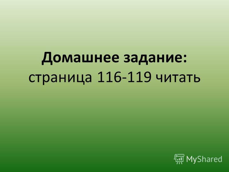 Домашнее задание: страница 116-119 читать