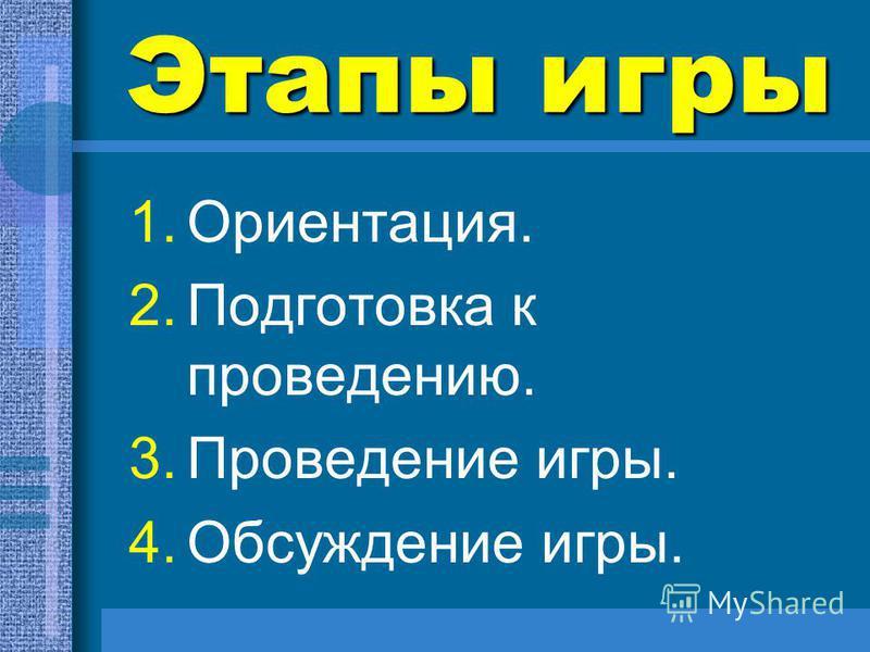 Этапы игры 1.Ориентация. 2. Подготовка к проведению. 3. Проведение игры. 4. Обсуждение игры.