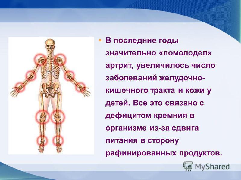 В последние годы значительно «помолодел» артрит, увеличилось число заболеваний желудочно- кишечного тракта и кожи у детей. Все это связано с дефицитом кремния в организме из-за сдвига питания в сторону рафинированных продуктов. В последние годы значи