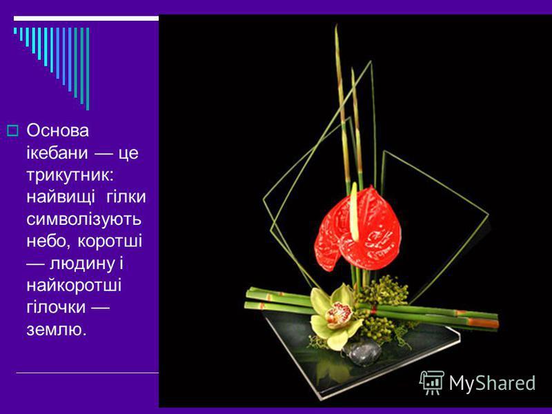 Основа ікебани це трикутник: найвищі гілки символізують небо, коротші людину і найкоротші гілочки землю.