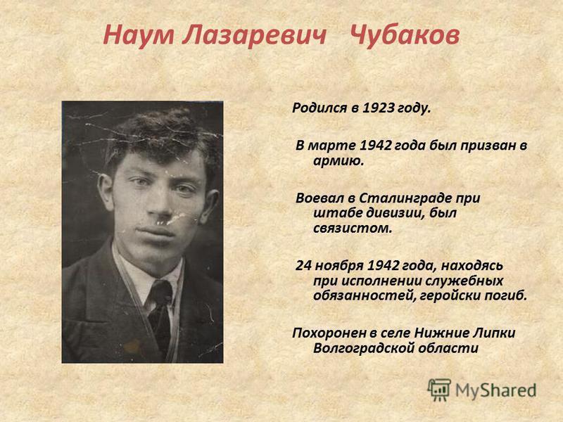 Наум Лазаревич Чубаков Родился в 1923 году. В марте 1942 года был призван в армию. Воевал в Сталинграде при штабе дивизии, был связистом. 24 ноября 1942 года, находясь при исполнении служебных обязанностей, геройски погиб. Похоронен в селе Нижние Лип