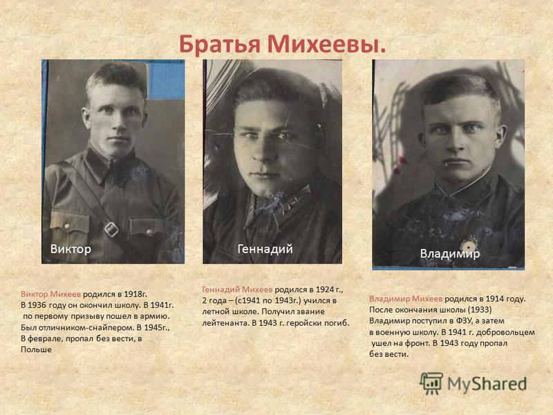 Братья Михеевы. Виктор Геннадий Владимир Виктор Михеев родился в 1918 г. В 1936 году он окончил школу. В 1941 г. по первому призыву пошел в армию. Был отличником-снайпером. В 1945 г., В феврале, пропал без вести, в Польше Геннадий Михеев родился в 19
