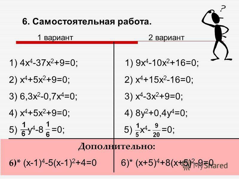 5. Закрепление нового материала. Решите биквадратные уравнения: 1) x 4 -7x 2 +12=0; 2) 9x 4 +5x 2 -4=0; 3) 1-4z 4 =0; 4) 0,1y 4 -1,6y 2 =0 Дополнительное задание: 5) (x-1) 4 -5(x-1) 2 +4=0 1 вариант 6) (x+5) 4 +8(x+5) 2 -9=0 2 вариант Сколько действи