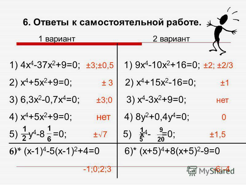 6. Самостоятельная работа. 1 вариант 2 вариант 1) 4x 4 -37x 2 +9=0; 1) 9x 4 -10x 2 +16=0; 2) x 4 +5x 2 +9=0; 2) x 4 +15x 2 -16=0; 3) 6,3x 2 -0,7x 4 =0; 3) x 4 -3x 2 +9=0; 4) x 4 +5x 2 +9=0; 4) 8y 2 +0,4y 4 =0; 5) y 4 -8 =0; 5) x 4 - =0; Дополнительно