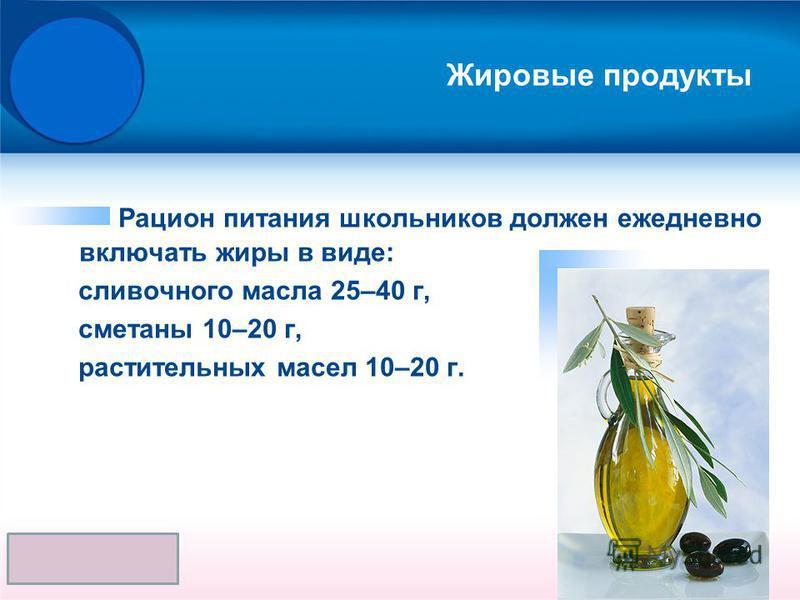 Жировые продукты Рацион питания школьников должен ежедневно включать жиры в виде: сливочного масла 25–40 г, сметаны 10–20 г, растительных масел 10–20 г.