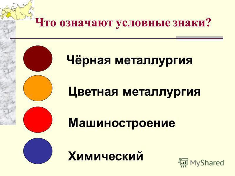 Что означают условные знаки? Цветная металлургия Машиностроение Химический Чёрная металлургия