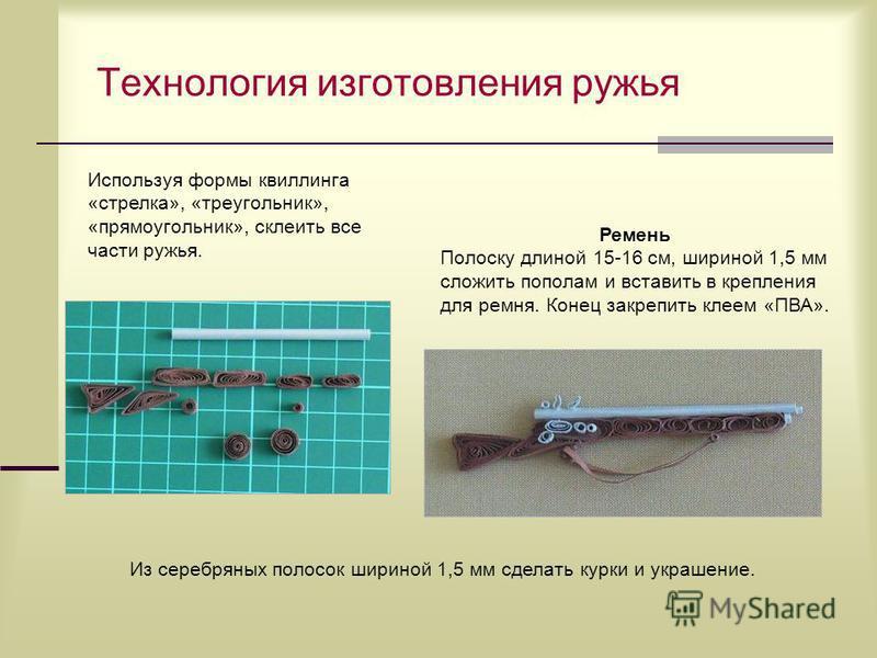 Технология изготовления ружья Ремень Полоску длиной 15-16 см, шириной 1,5 мм сложить пополам и вставить в крепления для ремня. Конец закрепить клеем «ПВА». Используя формы квиллинга «стрелка», «треугольник», «прямоугольник», склеить все части ружья.