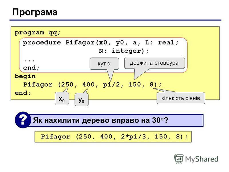 Програма program qq; procedure Pifagor(x0, y0, a, L: real; N: integer);... end; begin Pifagor (250, 400, pi/2, 150, 8); end; кут α довжина стовбура кількість рівнів x0x0 y0y0 Як нахилити дерево вправо на 30 o ? ? Pifagor (250, 400, 2*pi/3, 150, 8);