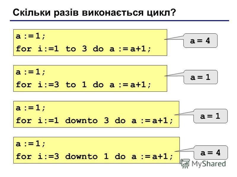 Скільки разів виконається цикл? a := 1; for i:=1 to 3 do a := a+1; a = 4a = 4 a := 1; for i:=3 to 1 do a := a+1; a = 1a = 1 a := 1; for i:=1 downto 3 do a := a+1; a = 1a = 1 a := 1; for i:=3 downto 1 do a := a+1; a = 4a = 4