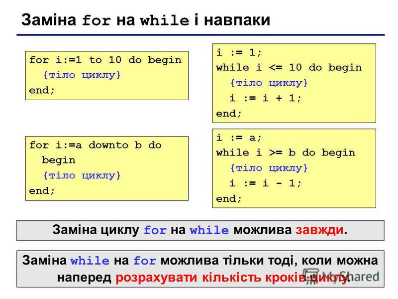 Заміна for на while і навпаки for i:=1 to 10 do begin {тіло циклу} end; i := 1; while i <= 10 do begin {тіло циклу} i := i + 1; end; for i:=a downto b do begin {тіло циклу} end; i := a; while i >= b do begin {тіло циклу} i := i - 1; end; Заміна while