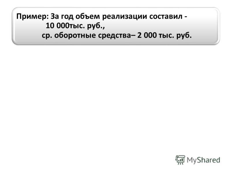 Пример: За год объем реализации составил - 10 000 тыс. руб., ср. оборотные средства– 2 000 тыс. руб.