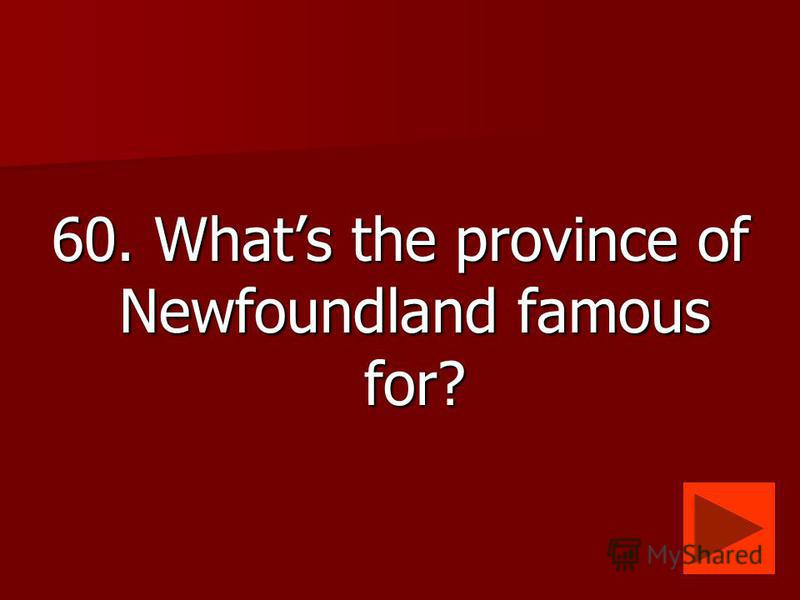 60. Whats the province of Newfoundland famous for?