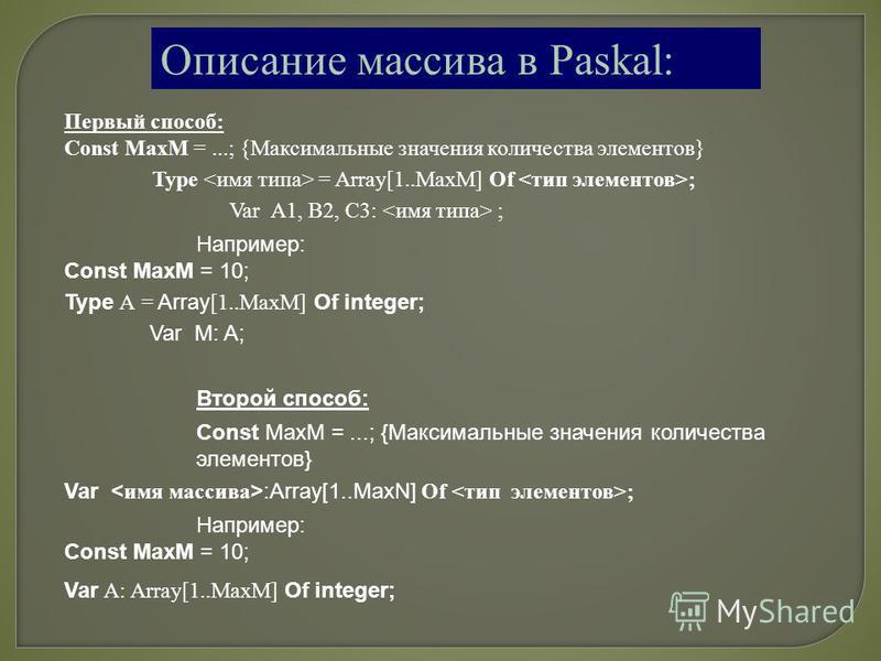 Описание массива в Paskal: Первый способ: Const MaxM =...; {Максимальные значения количества элементов} Type = Array[1..МахМ] Of ; Var А1, В2, С3: ; Например: Const MaxM = 10; Type А = Array [1..МахМ] Of integer; Var M: A; Второй способ: Const MaxM =