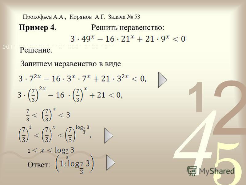 Пример 4. Решить неравенство: Решение. Прокофьев А.А., Корянов А.Г. Задача 53 1 Ответ: Запишем неравенство в виде