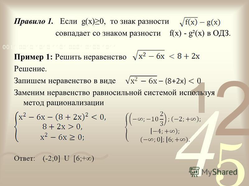 Правило 1. Если g(x)0, то знак разности совпадает со знаком разности f(x) - g²(x) в ОДЗ. Пример 1: Решить неравенство Решение. Запишем неравенство в виде Заменим неравенство равносильной системой используя метод рационализации Ответ: (-2;0] U [6;+)