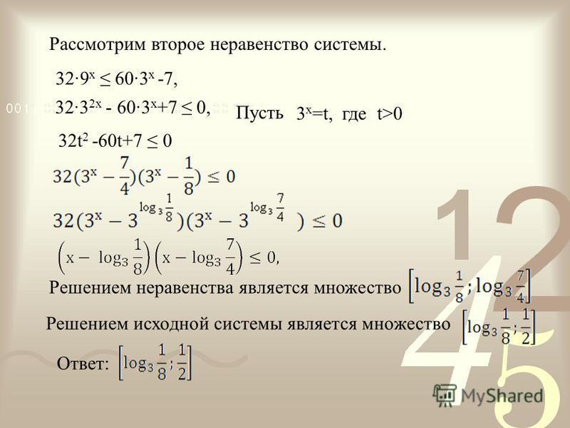 32·9 x 60·3 x -7, 32·3 2x - 60·3 x +7 0, 32t 2 -60t+7 0 3 x =t, где t>0 Пусть Рассмотрим второе неравенство системы. Решением неравенства является множество Ответ: