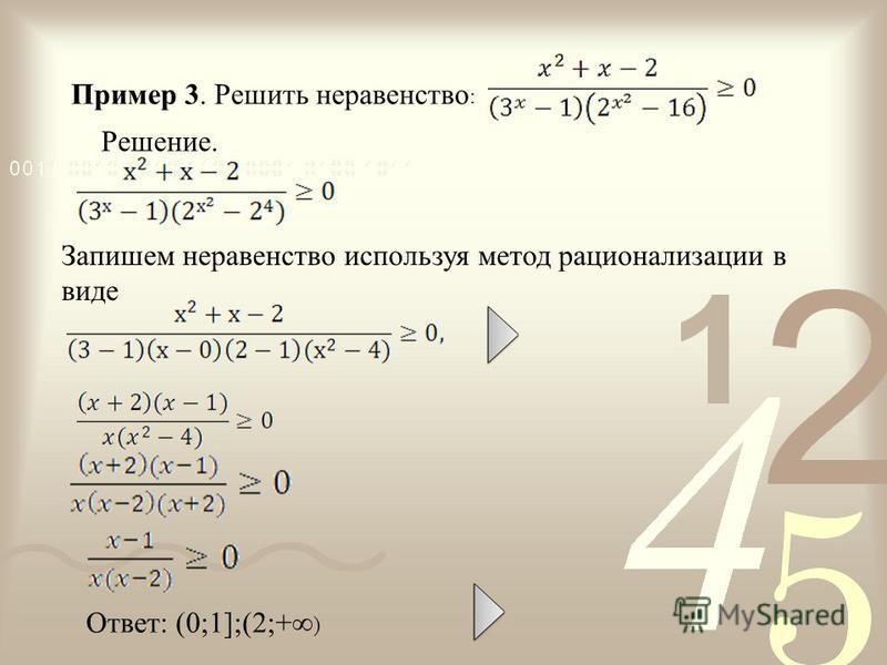 Пример 3. Решить неравенство : Решение. Ответ: (0;1];(2;+ ) Запишем неравенство используя метод рационализации в виде