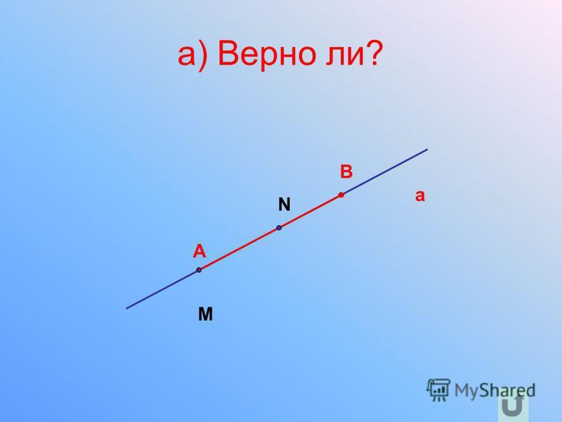 a) Верно ли? a A B N M