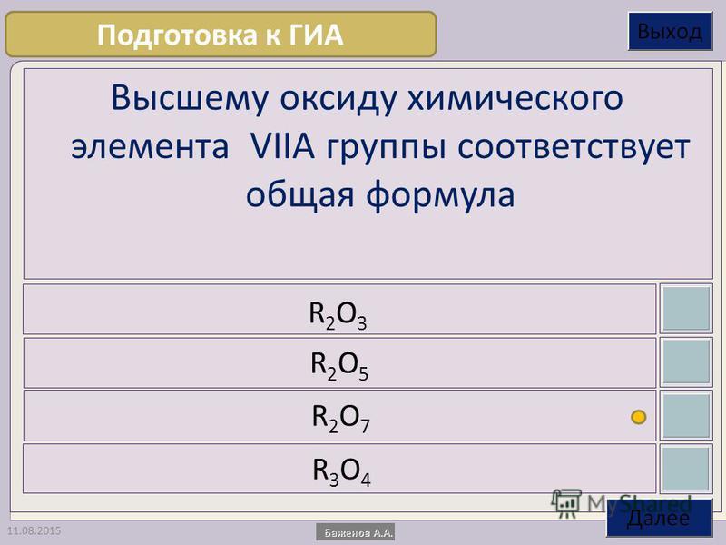 11.08.2015 Высшему оксиду химического элемента VIIА группы соответствует общая формула R2O3R2O3 R2O5R2O5 R2O7R2O7 R3O4R3O4 Подготовка к ГИА