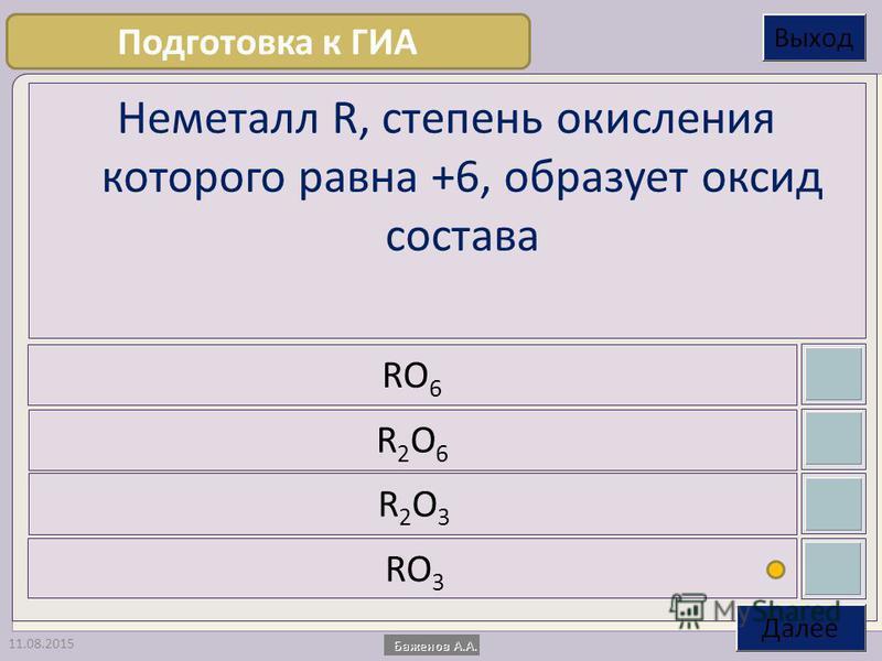 11.08.2015 Неметалл R, степень окисления которого равна +6, образует оксид состава RO 6 R2O6R2O6 R2O3R2O3 RO 3 Подготовка к ГИА