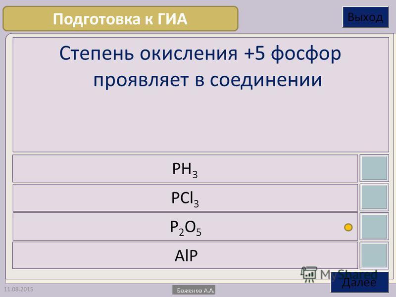 11.08.2015 Степень окисления +5 фосфор проявляет в соединении PH 3 PCl 3 P2O5P2O5 AlP Подготовка к ГИА