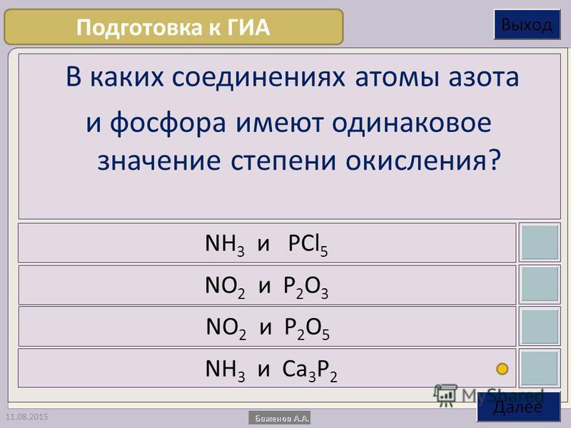 11.08.2015 В каких соединениях атомы азота и фосфора имеют одинаковое значение степени окисления? NH 3 и PCl 5 NO 2 и P 2 O 3 NO 2 и P 2 O 5 NH 3 и Ca 3 P 2 Подготовка к ГИА