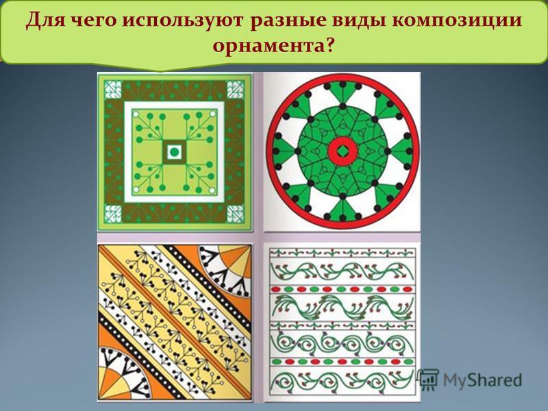 Для чего используют разные виды композиции орнамента?